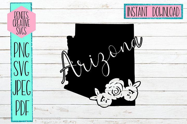 Arizona State w/Flowers| State SVG | SVG Cutting file