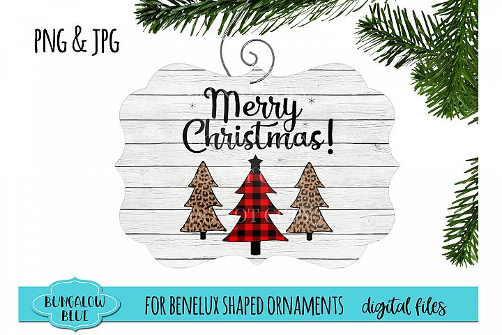 Merry Christmas Plaid Leopard Trees Ornament Download