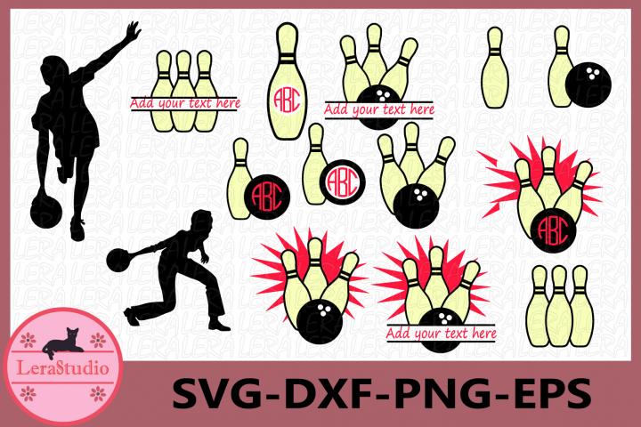 Bowling Svg, Bowling Monogram Svg, Bowling Ball SVG