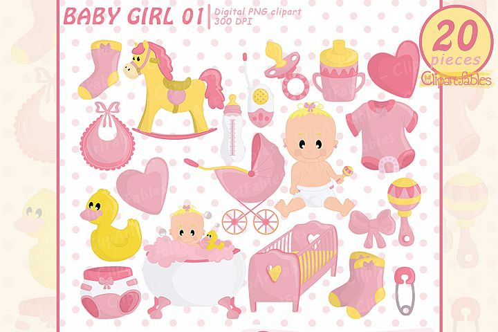 Cute baby girl shower party clipart, pink girl birthday art