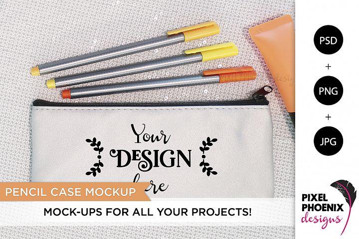 Pencil Case Mockup with orange hues
