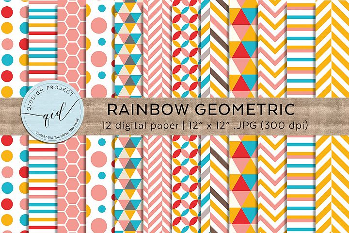 Rainbow Geometric Digital Paper Pattern