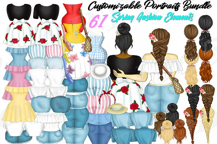 Custom Clipart Customizable Spring Time Fashion Builder PNG