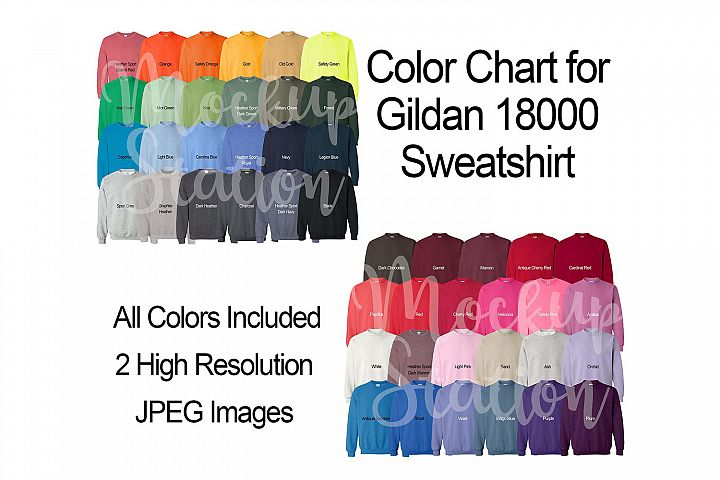 Color Chart for Gildan 18000 Sweatshirt, Digital Color Chart
