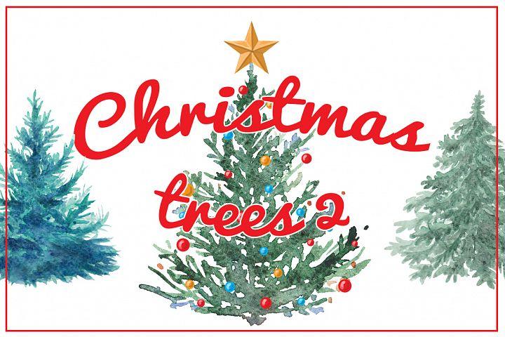 Watercolor Christmas trees 2