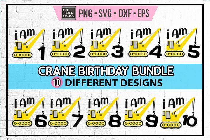 Crane Birthday SVG Bundle