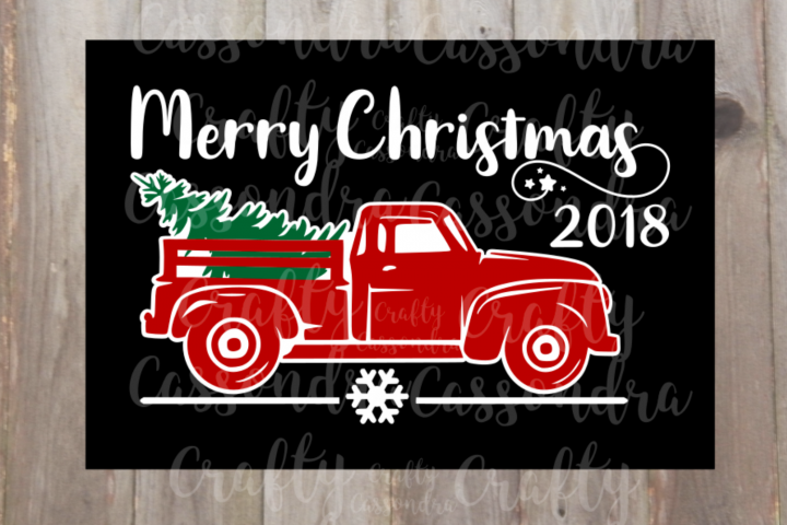 Vintage pickup truck hauling away a Christmas tree #2