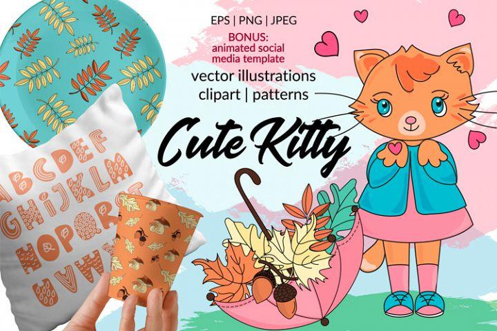 CUTE AUTUMN KITTY Clipart Pattern Alphabet Vector Animation