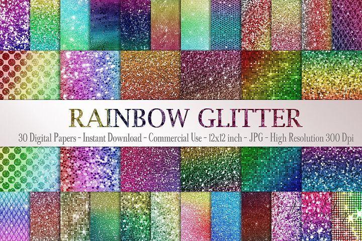 30 Rainbow Shimmering Fairy Unicorn Glitter Digital Papers