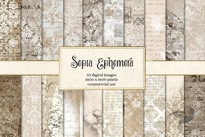 Sepia Ephemera Digital Paper - Free Design of The Week Font