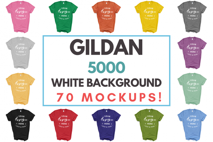 Gildan 5000 Unisex T-Shirt Mockup Mega Bundle White Backdrop