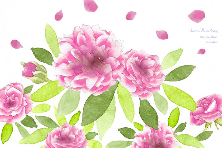 Watercolor Flowers Roses Clipart