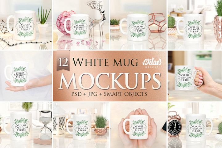 Bundle of 12 Mugs coffee Mockup