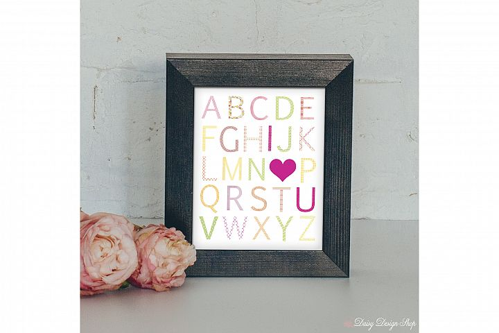 Art Print - Alphabet I Love You - Pink Yellow and Green - Nursery or Home 8x10 Printable