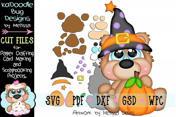Pumpkin Witch Bear Cut File - SVG PDF DXF GSD WPC