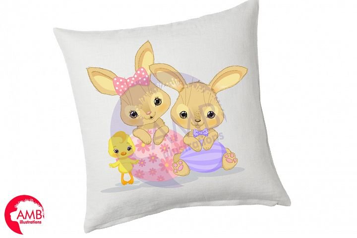 Bunnies and chicks easter clipart, AMB-2729 example image 2
