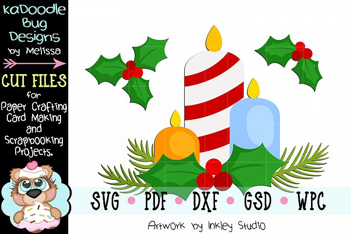 Christmas Candles Cut File - SVG PDF DXF GSD WPC