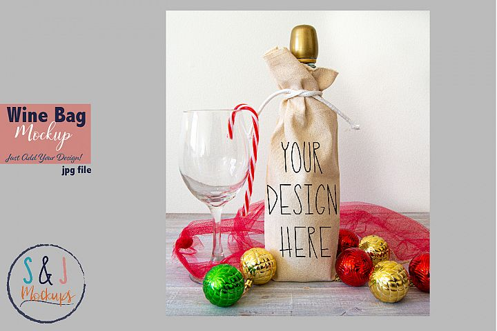 Christmas mockup, wine gift bag mockup, design mockup photo