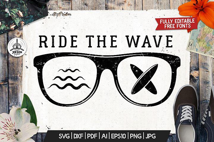 Surf Adventure Badge Vintage Summer Logo Ride Wave SVG File