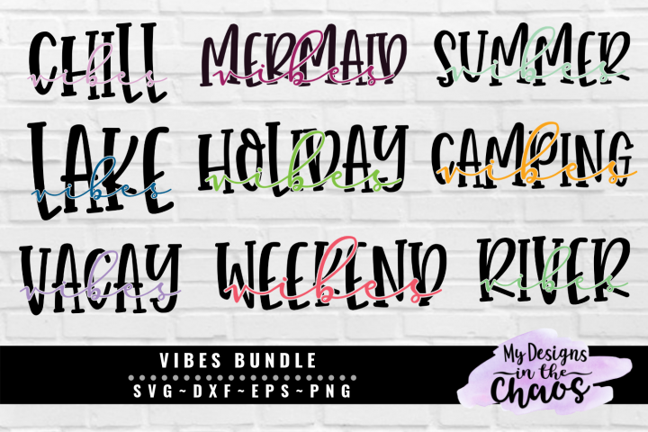 Vibes Bundle of 9 SVG EPS DXF PNG