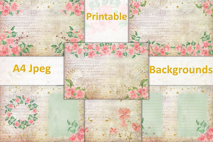 Peach Blossom Backgrounds A4 JPEG Watercolour flowers