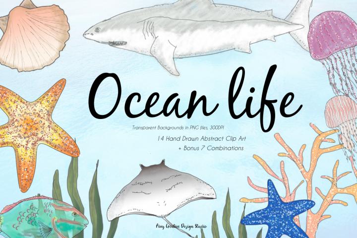 Hand Drawn Ocean Life Clip Art Bundle