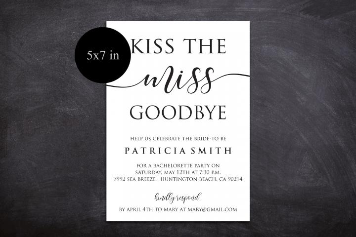 DIY Kiss The Miss Goodbye Bachelorette Party Invitation