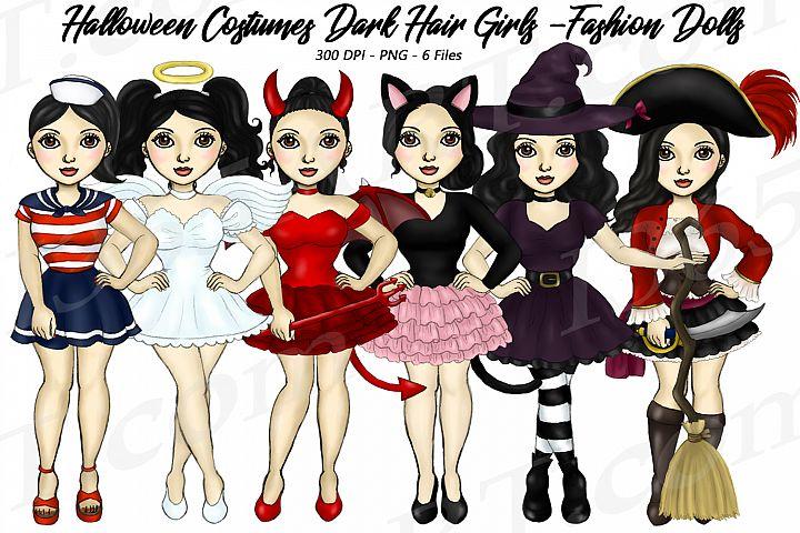 Halloween Girls Fashion Clipart, Costume Dark Hair Graphics