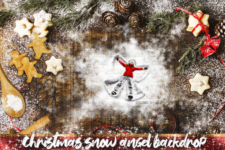 Christmas Digital Backdrop Snow Angel Baking flat Cookie