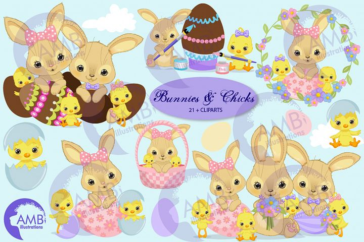 Bunnies and chicks easter clipart, AMB-2729 example image 1
