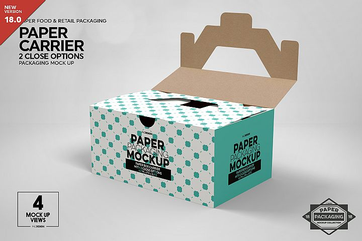 Paper Carrier with 2 Closure Options Packaging Mockup