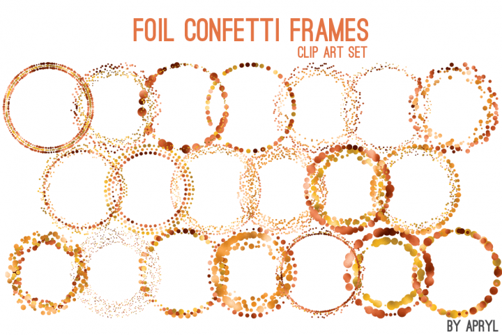 Copper Orange Foil Round Confetti Frames