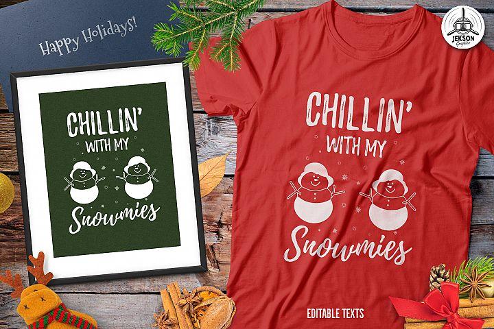 Funny Christmas Snowman T-Shirt, Retro Design. Xmas Tee SVG