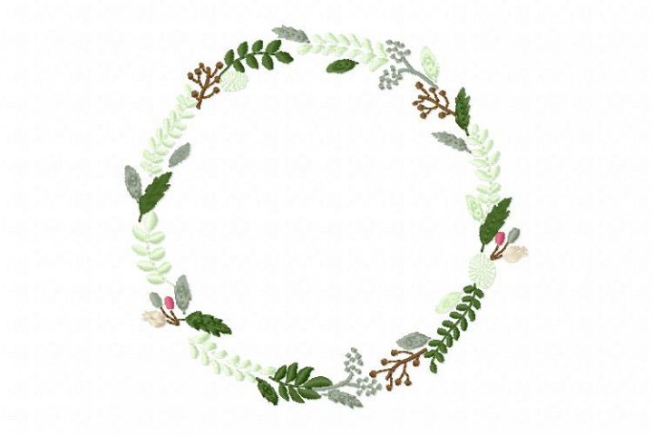 Floral Wreath Leaves Wreath Font Frame Design - EMBROIDERY DESIGN FILE - Instant download - Vp3 Hus Dst Exp Jef Pes format hoop 4x4 5x7 6x10