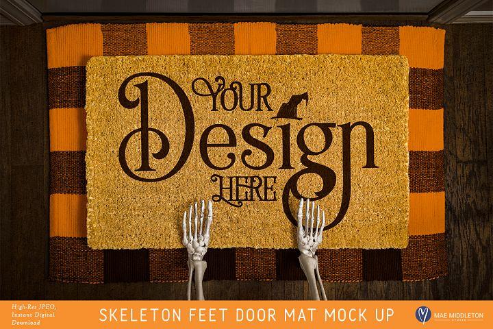 Halloween Door Mat mock up - Skeleton Feet