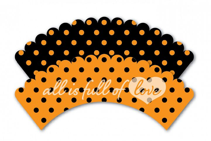 Halloween Wrappers Orange and Black Printable Cupcake Wrappers with Polka Dots