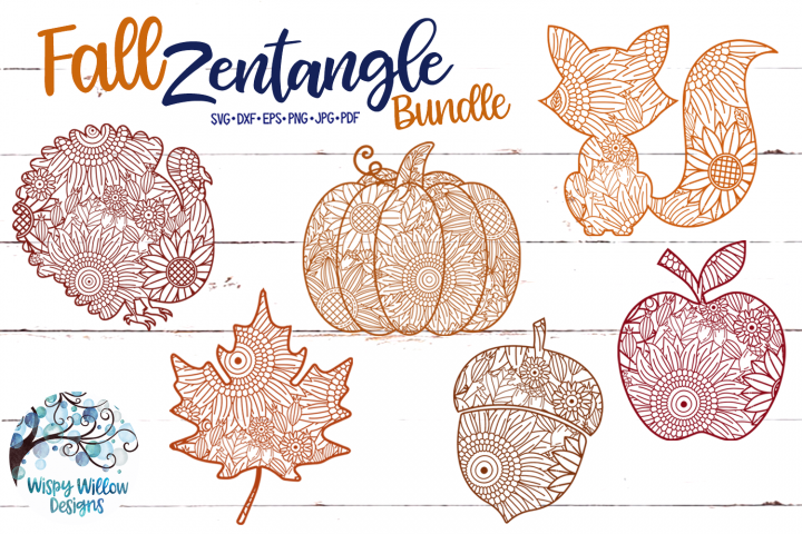 Fall Zentangle SVG Bundle | Fall Mandala SVG Cut Files