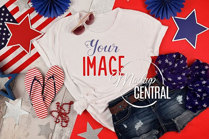 Womens Blank White USA American T-Shirt JPG Mock Up Shirt