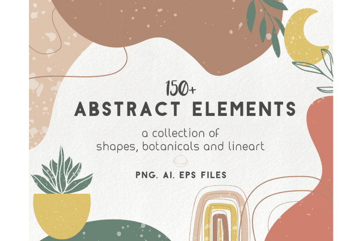 150 modern abstract design elements - floral illustrations