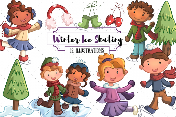 Winter Ice Skating Illustrations