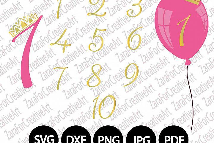 Balloon svg Birthday Golden Birthday svg Numbers svg Happy Birthday SVG DXF PNG Crown svg girl birthday svg boy birthday svg Pink svg blue