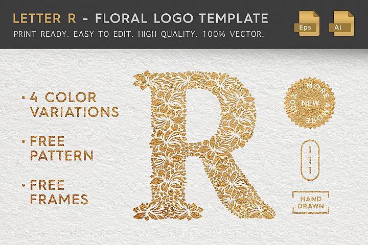Letter R - Floral Logo Template