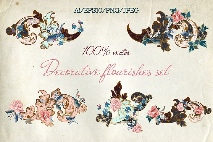 Collection of vector vintage flourishes with flowers Vol.2