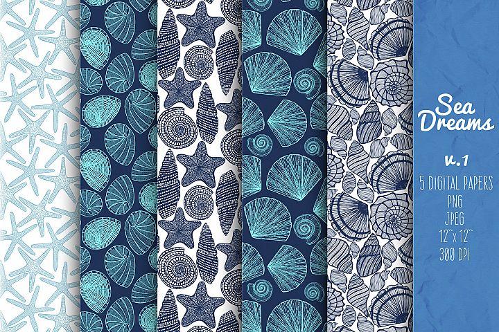 Sea Shell Pattern, Starfish Paper, Nautical Digital Paper