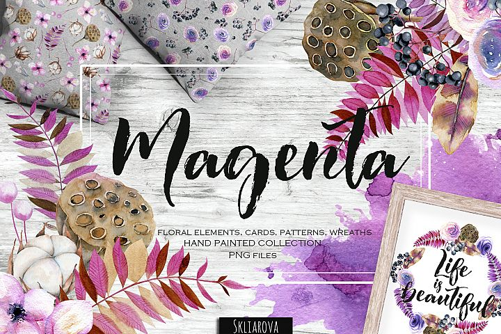 Magenta. Floral collection.