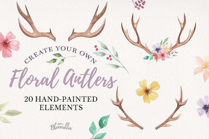 Create Your Own Watercolor Elements Flowers Antlers Florals