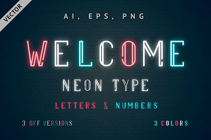 Multicolored Vector Neon Type - Welcome