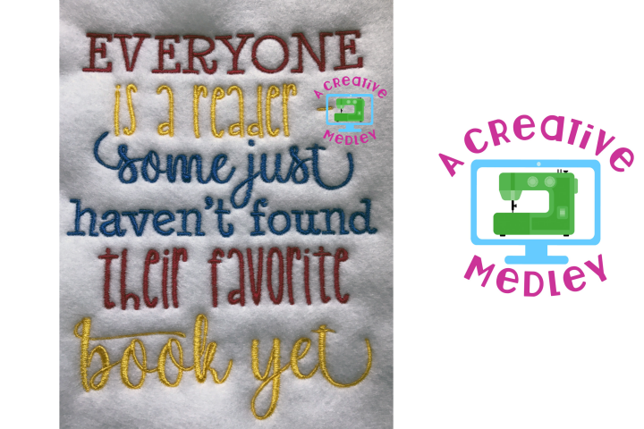 Everyone is a Reader Embroidery Design