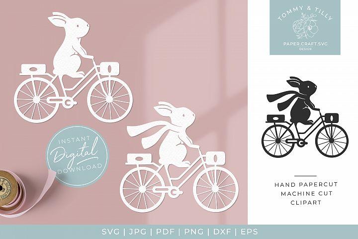 Bunny & Bike x 2 - SVG Papercut Cutting File
