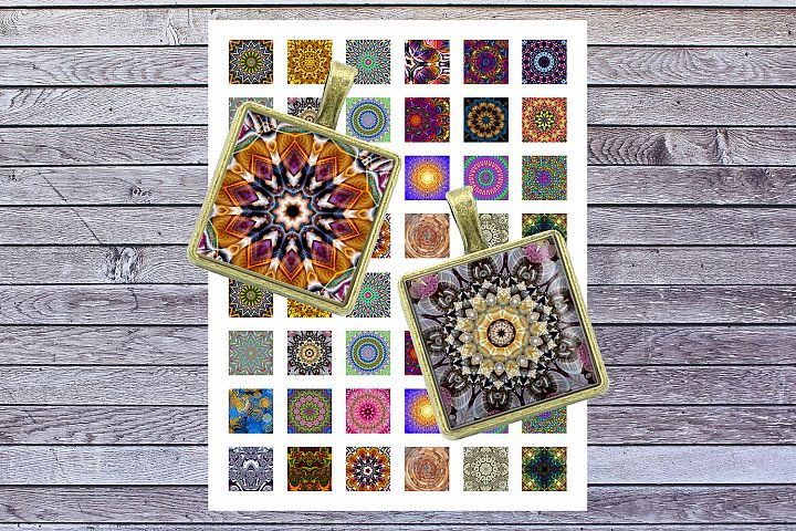 Mandala, Kaleidoscope Images, Digital Collage Sheet, Squares